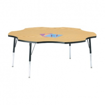 FLOWER TABLE BLUE TOP BLACK EDGE BANDING/UPPER LEGS