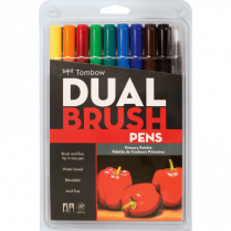 DUAL BRUSH MARKERS ASST 10/SET TOMBOW PRIMARY COLOURS