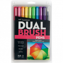 DUAL BRUSH PEN SET BRIGHT COLOURS 10/PK