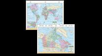 CANADA/WORLD MAP 3-H 8.5x11 1071730 L1224-00