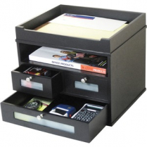 3DRAWER VICTOR WOOD BLACK DESKTOP ORGANIZER