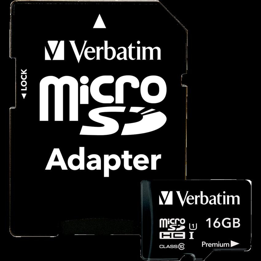 MICROSDHC MEMORY CARD 16GB W/ADAPTER CLASS 10 VERBATIM