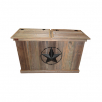 TRASH CAN - DOUBLE - BARBED WIRE STAR - BLACK