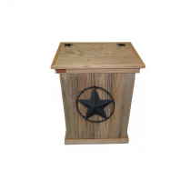 TRASH CAN - SINGLE - BARBED WIRE STAR - BLACK