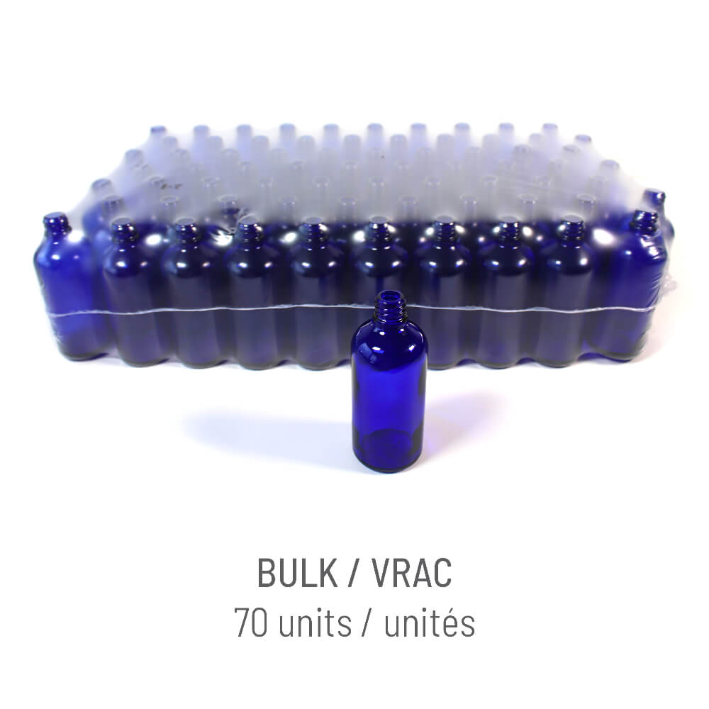 Bouteille verre bleu 100ml + Vaporisateur