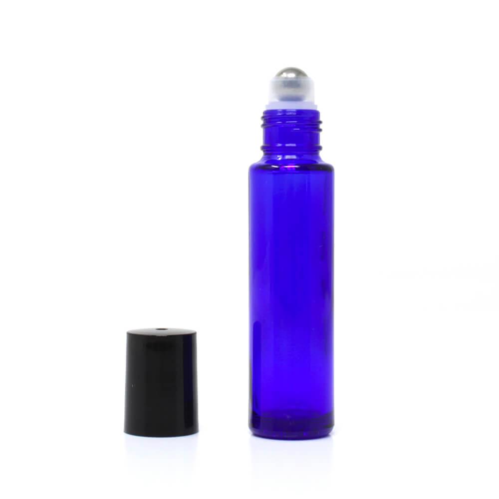Bouteille verre bleu 15ml Roll-on + Bille Inox.