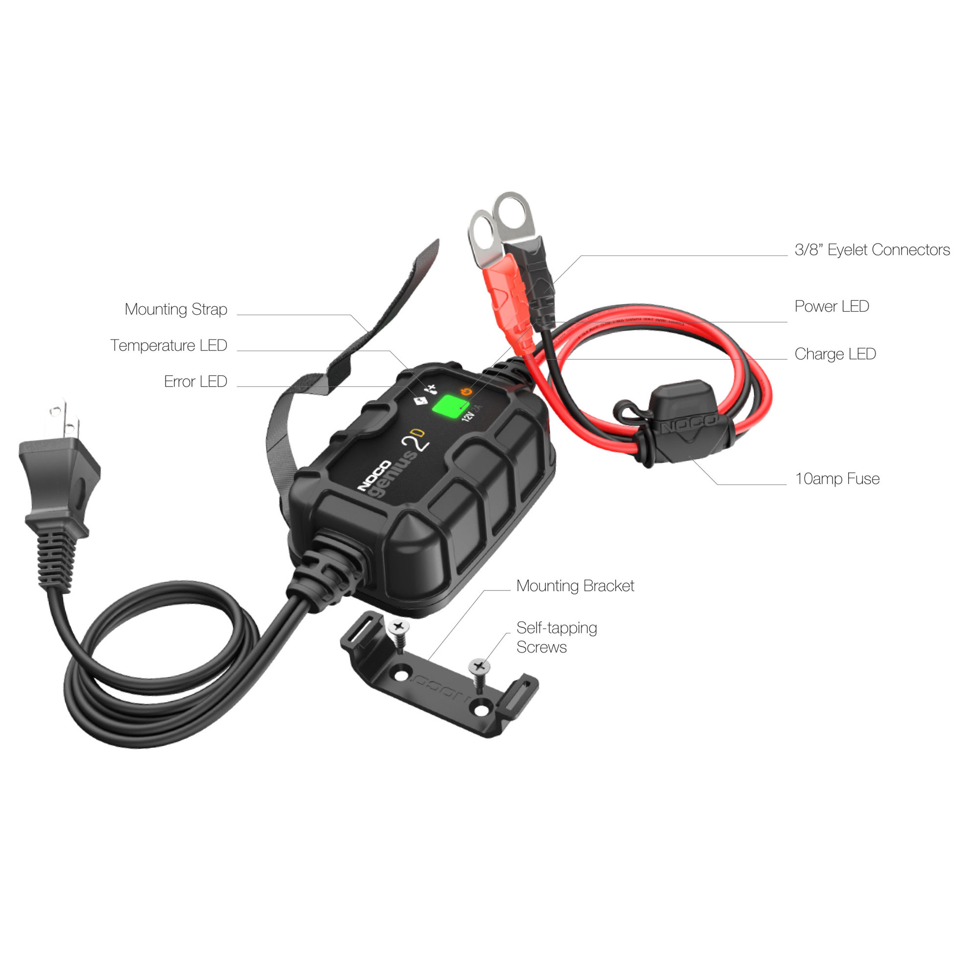GENIUS2D   AUTOMATIC CHARGER MAINTAINER 12V 2A LEAD ACID