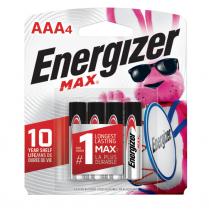E92BP4   PILE ENERGIZER MAX ALK AAA CARTE DE 4