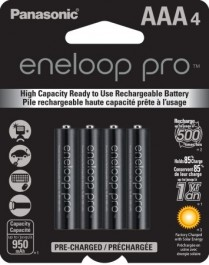 BK4HCCA4BA PANASONIC ENELOOP PRO PRE-CHARGED RECHARGEABLE BATTERIES NI-MH AAA 950MAH 4-PACK