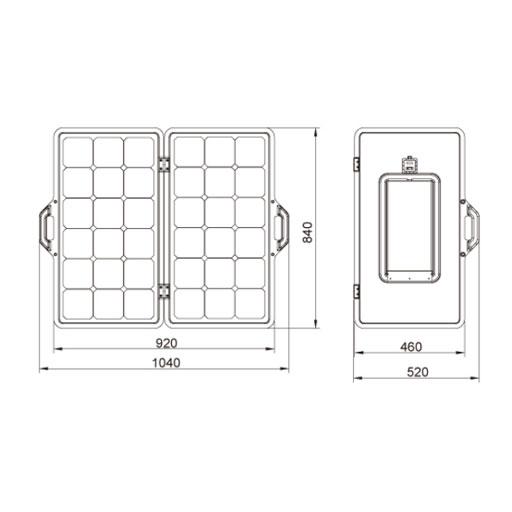 EWS-100M-FOLD-C   SOLAR PANEL MONO FOLD 2x50W 12V