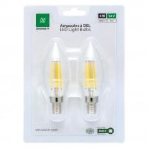 EWL-LEDC37-4-NW   Ampoule a filaments DEL 12V 4W format C37, blanc neutre (paquet de 2)