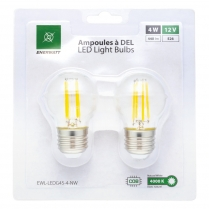 EWL-LEDG45-4-NW   FILAMENT AMP LED G45 12V 4WATT NW (PQT2)