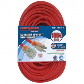100' 12/3 SINGLE TAP EXTENSION CORD- RED