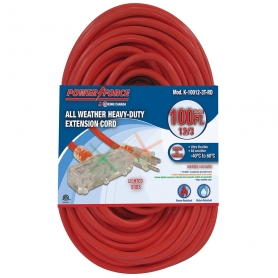 100' 12/3 TRI-TAP EXTENSION CORD- RED