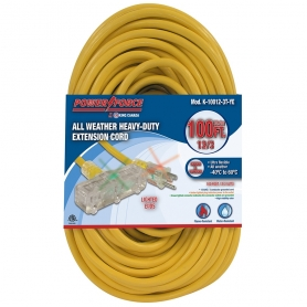 100' 12/3 TRI-TAP EXTENSION CORD- YELLOW