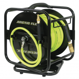 "1/4"" x 100' MANUAL AIR HOSE REEL W/HYBRID POLYMER AIR HOSE"