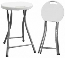 Chair Stool Folding Poly White