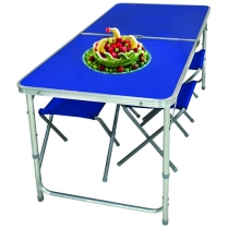 Table Alu Folding Blue & Chair