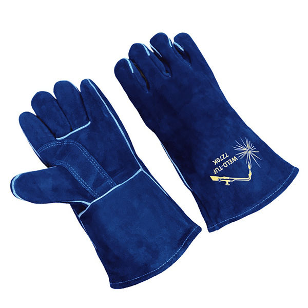 LEATHER GLOVE LINED;BLUE;PR, 12 PAIR/PACKAGE