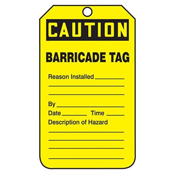 "Barricade Tag, Yellow, 3"" x 5"""