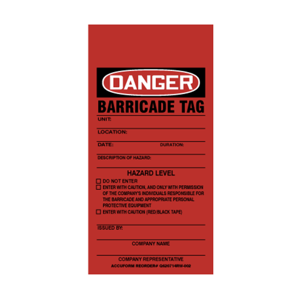 """Barricade Tag, Red, 3"""" x 5"""""""