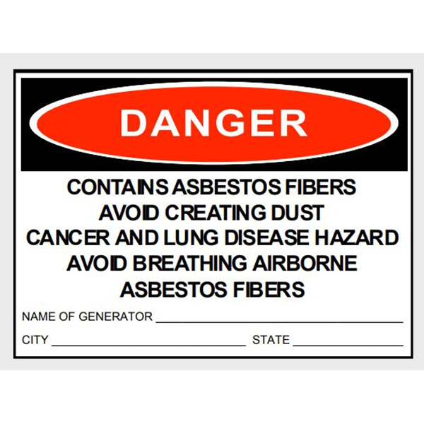 """Sticker, """"Danger Asbestos"""", 3"""" x 5"""""""