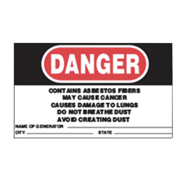 OSHA Sticker Danger Asbestos