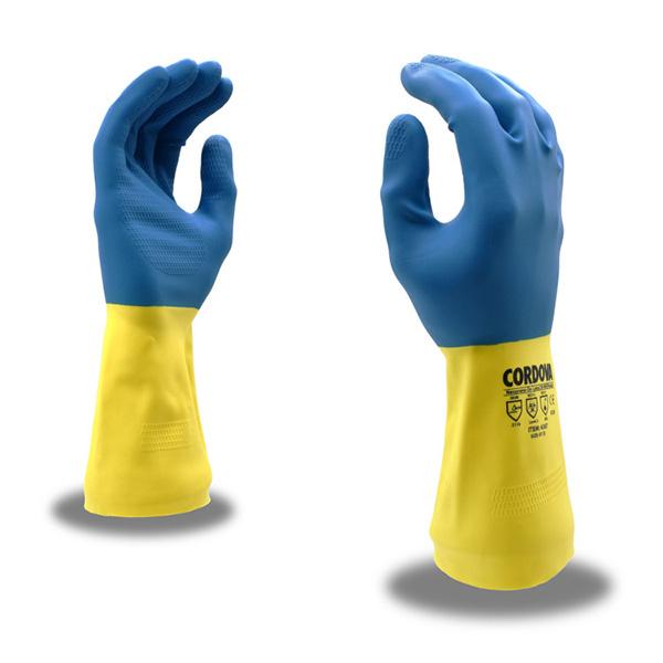 Cordova 4300 Gloves, SZ 10, 28 Mil, Premium, Unsupported, Blue & Yellow