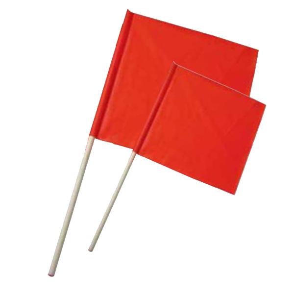 """Orange Safety Flag, 18"""", Wood Handle, PVC/Nylon"""