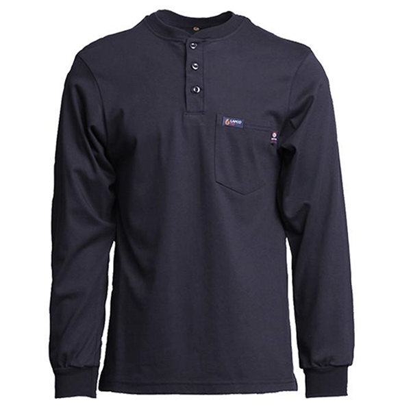 Flame Resistant 7 oz. Henley Tee, Large, Navy
