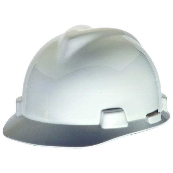 MSA V-Gard Hard Hat, Cap Style, White, with Staz-On Suspension