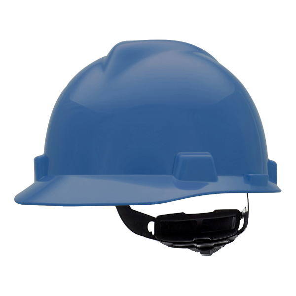 MSA V-Gard Hard Hat, Blue, Cap-Style, Fas-Trac Suspension