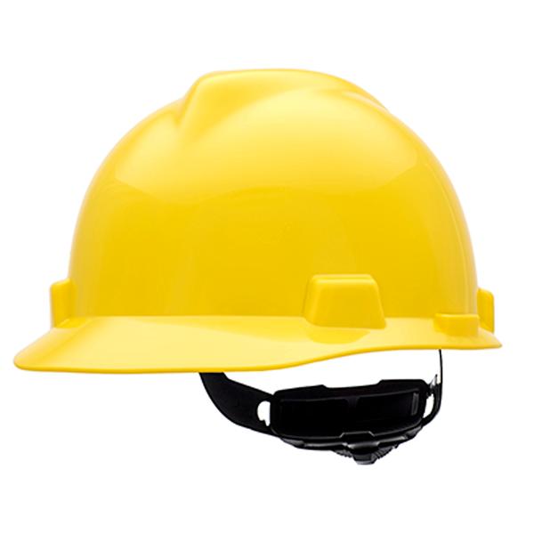 MSA V-Gard Hard Hat, Yellow, Cap-Style, Fas-Trac Suspension
