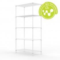 White Powder Coated Wire Shelving 455 x 910 (5 Shelves)