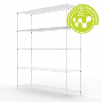 White Powder Coated Wire Shelving 455 x 1525 (5 Shelves)
