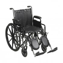 "Wheelchair, 18"" 300 lb, fixed arm, swing away elevated legre"