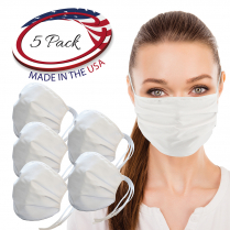 Layered Cloth Face Mask (Ties), White (Multi-Packs)