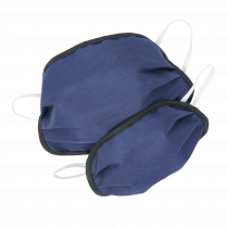 Layered Cloth Face Mask (Ear Loops), Navy / Gray Reversible (5 Pack)