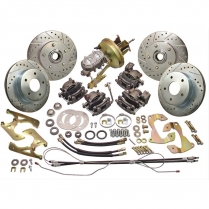 1958-64 Chevy Car Front & rear Disc Brake Kit w/Drop Spindle