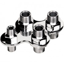 4-Port A/C Heat Bulkhead Screw-On Type - Polished