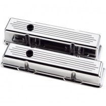 Ball Milled Short Valve Covers for SB Chevy - Polished