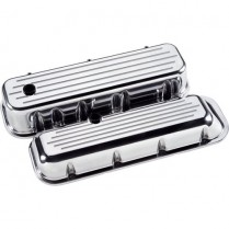 Ball Milled Tall Valve Covers for BB Chevy - Polished