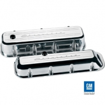 Chevy Script Tall Valve Covers for BB Chevy - Polished