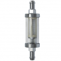 """Fuel Filter with 5/16"""" Inlet & Outlet - Chrome & Glass"""