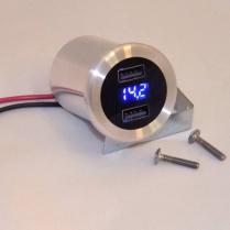 Dual Port Billet USB Charger and Volt Meter